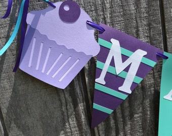 Cupcake Birthday Banner, Teal and Purple Birthday Banner