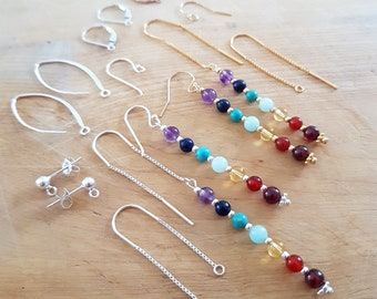 7 CHAKRA earrings Sterling Silver 18K Gold Fill choose your type of fastening