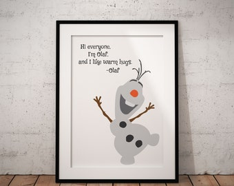 I Like Warm Hugs Poster, Olaf, Frozen, Disney, Quote, Print