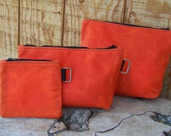 Orange & Black Waxed Canvas Pouches in 3 Sizes