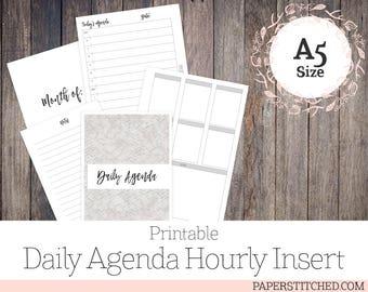PRINTABLE Daily Agenda, A5, Planner Insert, Hourly Agenda, Ringbound