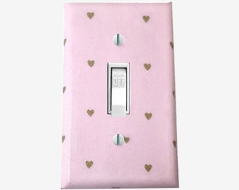 Pink and Gold  light switch cover girls nursery decor hearts
