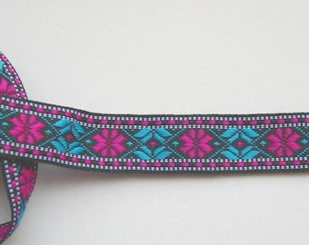 Ribbon trim ethnic patterned blue and Fuchsia
