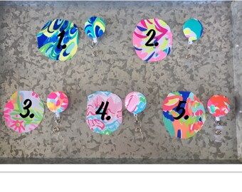 Badge Reels Covered with Lilly Pulitzer Fabric