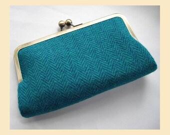 Harris Tweed clutch bag, teal, turquoise purse with red silk lining, herringbone tweed handbag, wool clutch with optional personalisation