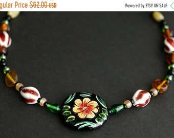 SUMMER SALE Floral Viking Cascade Necklace in Dark Red, Amber, and Green. Norse Treasure Necklace 21.5 inches (54.6 cm) - Historical Reenact
