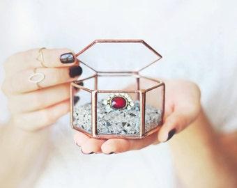 Wedding Ring Box, Ring Bearer Box, Geometric Ring Box, Copper Ring Box, Jewelry Box, Rose Gold Box, Stained Glass Ring Pillow, Hexagon Box