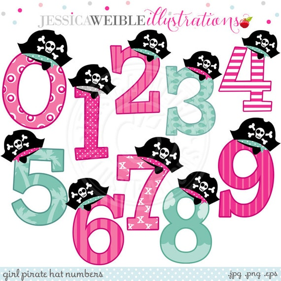 girl pirate hat numbers cute digital clipart commercial use rh etsy com cute pirate girl clipart Thistle Girl Pirate Clip Art