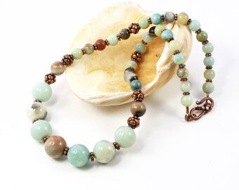 Copper And Gemstone Necklace For Women | Copper and Amazonite Necklace | Copper and Blue Gemstone Necklace | Copper Necklace For Women