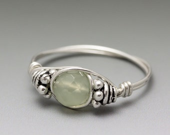 New Jade Faceted Bali Sterling Silver Wire Wrapped Ring - Made to Order, Ships Fast!