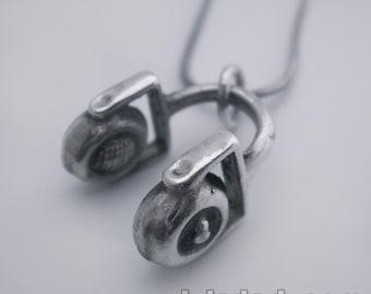 Sterling Silver Pendant DJ Headphones