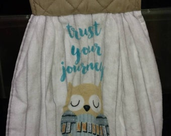 Owl - Trust Your Journey, Be Awesome - Hanging Kitchen Towel