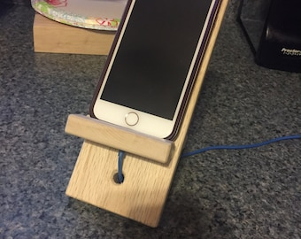 Hardwood smart cell phone holder and charging stand