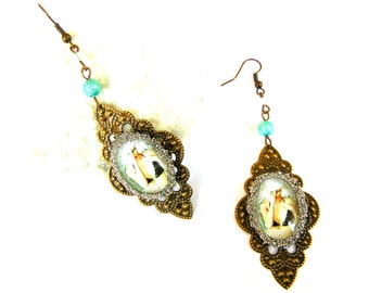 Earrings domed glass white lady elf