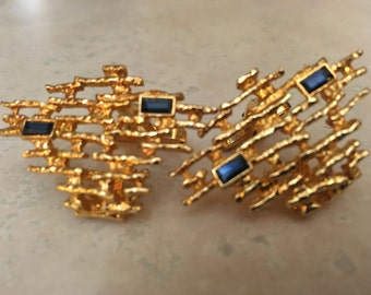 Vintage Brutalist Gold tone with blue stones cufflinks