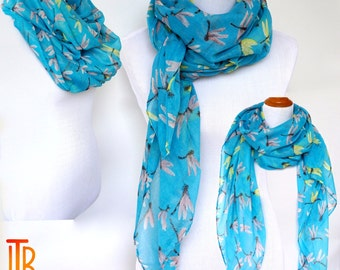 Blue Infinity Scarf, Dragonfly Print Scarf, Spring Summer Shawl Scarves, Fashion Women's Scarf, Bohemian Boho Scarf, Gifts For Her