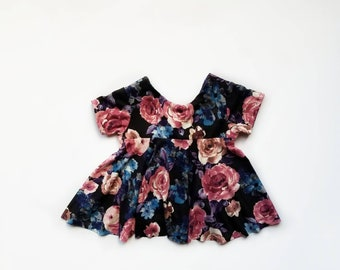 Floral knit dress, girls twirl dress, floral rose,drop back dress