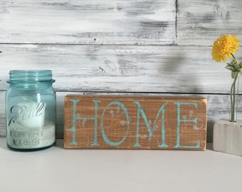 HOME wood block, rustic farmhouse decor, mothers day gift, housewarming gift, one of a kind