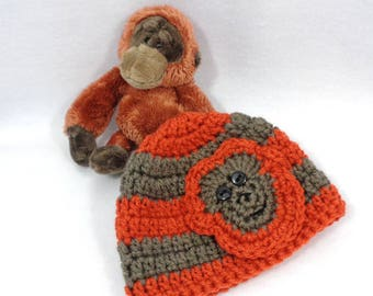 Matching Baby Hat with Small Stuffed Monkey, Home for the Hospital Crochet Set for Baby, Baby Shower Gift, Newborn Gift Set, Monkey Beanie