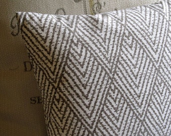 IKAT TAUPE on White  pillow cover  18x18 20x20 22x22 24x24 26x26