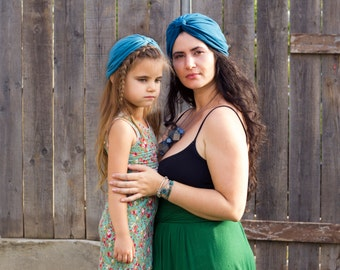 Matching Mommy Daughter Independence day Turban Hat , Mommy and Me Headwrap , Blue Turban Hat , Memorial Day Hat , Women Turban Hat , Turban