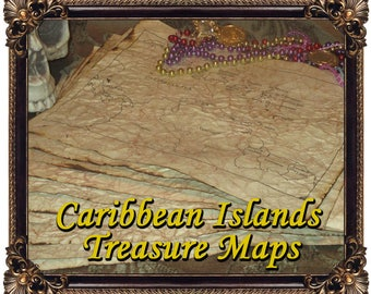 Hand Antiqued Maps of the Caribbean - Islands Labeled - 10 Sheets