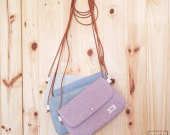 Shoulder bag with handle leather-color raw/blue/crossbody bags-Leather strap-color Ivory/Blue