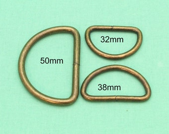 32mm/38mm/50mm D-Rings - Antique Bronze - Handbag Hardware Australia