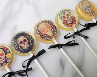 Sugar Skull Day of the Dead Lollipops 6 pieces