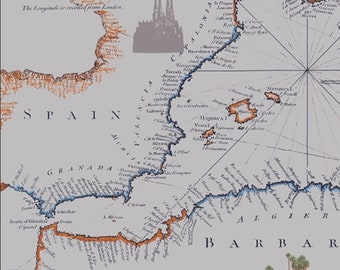 "New Mediterraneo ""Cartographe"" by Katarina Roccella  -Art Gallery Fabric-Cotton,Gray,Map"