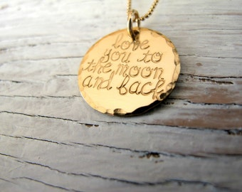 Gold love you to the moon and back necklace, doubled, layered, hand stamped, crescent moon