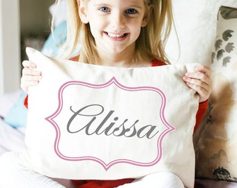 Personalized newborn baby pillow for baby shower, new baby girl name pillow, pink and grey,