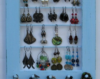 Shabby Chic Jewelry Organizer, Jewelry Wall Organizer, Necklace Holder, Earring Organizer,  / 30 - 40 Earrings / 10 - 20 Necklaces
