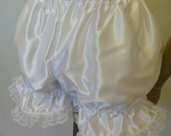 Adult Baby White Sissy Satin & Lace Bloomers, Panties. French Maid, Burlesque.