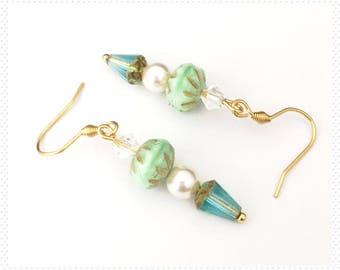 Gold stainless steel earrings, surgical steel earrings, hypoallergenic earrings, Swarovski pearl earrings, dangle earrings