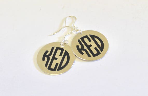 Monogrammed Earrings on Sterling Silver Earwires, Personalized Monogrammed Jewelry Gift For Her, Initial Jewelry Gift For Wife, Bride Gift