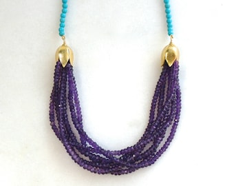 Six Strand Amethyst, Blue Turquoise, 14k Gold Fill Necklace...