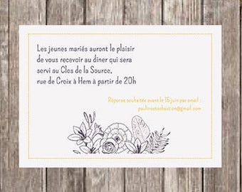 Invitation card party flowers and feathers