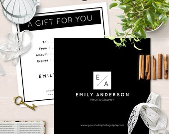 Photography Gift Certificate Template for Photographer - INSTANT DOWNLOAD - GC013