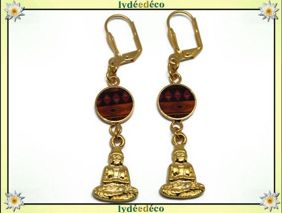 Earrings Buddha Golden brass gold 24 carat 24 k ethnic African Rhombus orange black resin