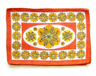 Mid Century LINEN Placemat Set / Scandinavian Style / Woven Table Linens / Orange and Gold / Modern Home Decor / Breakfast Table /Set of 6