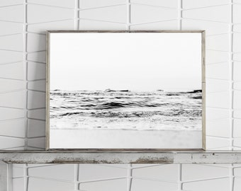 Black and White Ocean Print, Seascape Printable Wall Art Coastal Prints Large Wall Art Prints Instant Download Minimalist Coastal Art