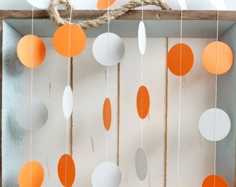 Orange and Grey 12 ft Circle Paper Garland- Wedding, Birthday, Bridal Shower, Baby Shower, Party Decorations
