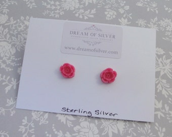 Blossom Stud Earrings - Bright Pink