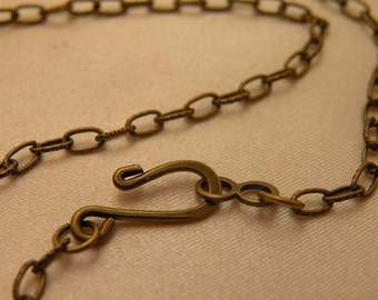 """Dainty Antiqued Brass Flat Embossed Link 24"""" Vintage Style Necklace Blanks 12 Chain Bulk Pack LiMiTeD StOcK"""