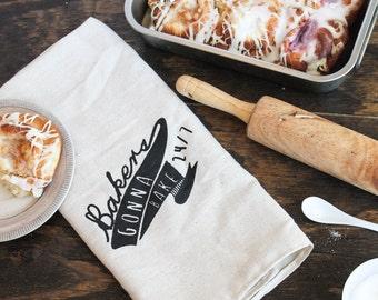 Bakers Gonna' Bake Tea Towel 100% Cotton, kitchen towel
