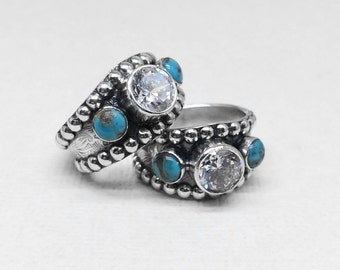 Sterling Silver - Western Style -Wedding - Engagment - Ring - For Women - CZ - Turquoise - Western Wedding Ring - Statement