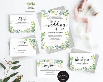 Rustic Wedding Invitation Template, Greenery Wedding Invitation Printable, Greenery Invitation, Cheap Invitation, PDF Instant Download #E034