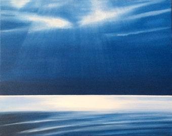 Sea painting, Puget Sound, Horizon painting, monochrome painting, Sky painting, sun rays, landscape painting