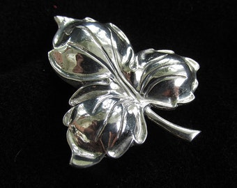 Vintage Danecraft Sterling Silver Brooch Pin Stylized Flower